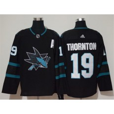 San Jose Sharks #19 Joe Thornton Black Adidas NHL Men Jersey