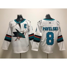 San Jose Sharks #8 Joe Pavelski White Adidas NHL Men Jersey