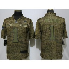 Carolina Panthers #1 Cam Newton Camo Salute To Service Limited Nike NFL Men Jersey