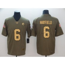 Cleveland Browns #6 Baker Mayfield Olive Gold Salute To Service Limited Nike NFL Men Jersey