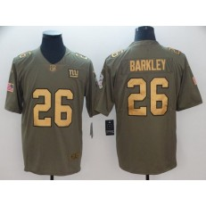 New York Giants #26 Saquon Barkley Olive Gold Salute To Service Limited Nike NFL Men Jersey