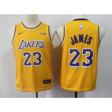 Los Angeles Lakers #23 Lebron James Gold Youth 2019 Nike Swingman Jersey