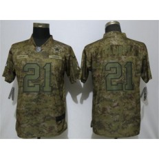 Women Nike Dallas Cowboys #21 Ezekiel Elliott Camo Salute To Service Limited Jersey