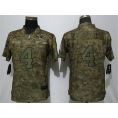 Women Nike Dallas Cowboys #4 Dak Prescott Camo Salute To Service Limited Jersey