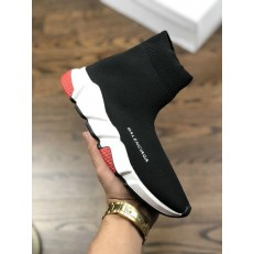 BALENCIAGA SPEED STRETCH-KNIT MID SNEAKERS BLACK WHITE RED