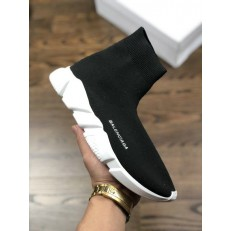 BALENCIAGA SPEED STRETCH-KNIT MID SNEAKERS BLACK WHITE