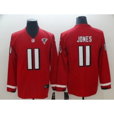 Atlanta Faclons #11 Julio Jones Red Therma Long Sleeve Nike NFL Men Jersey