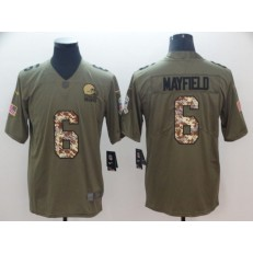 Cleveland Browns #6 Baker Mayfield Olive Camo Salute To Service Limited Nike NFL Men Jersey