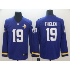 Minnesota Vikings #19 Adam Thielen Purple Therma Long Sleeve Nike NFL Men Jersey