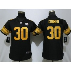 Women Nike Pittsburgh Steelers #30 James Conner Black Color Rush Limited Jersey