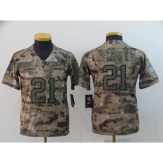 Youth Nike Dallas Cowboys #21 Ezekiel Elliott Camo Salute To Service Limited Jersey