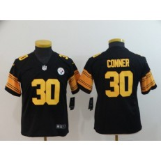 Youth Nike Pittsburgh Steelers #30 James Conner Black Color Rush Limited Jersey