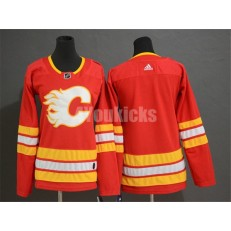 Calgary Flames Blank Red Women Adidas Jersey