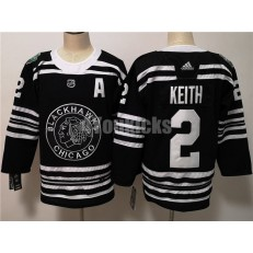 Chicago Blackhawks #2 Duncan Keith Black 2019 Winter Classic Adidas NHL Men Jersey
