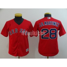 MLB Boston Red Sox #28 J.D. Martinez Red Youth Cool Base Jersey