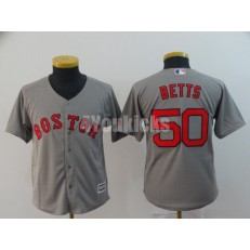 MLB Boston Red Sox #50 Mookie Betts Gray Youth Cool Base Jersey