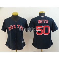 MLB Boston Red Sox #50 Mookie Betts Navy Women Cool Base Jersey
