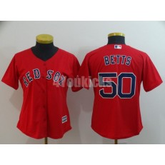 MLB Boston Red Sox #50 Mookie Betts Red Women Cool Base Jersey