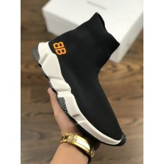 BALENCIAGA SPEED STRETCH-KNIT MID SNEAKERS BLACK WHITE WITH BB LOGO