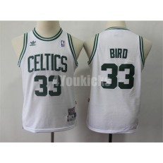 Boston Celtics #33 Larry Bird White Youth Hardwood Classics Jersey