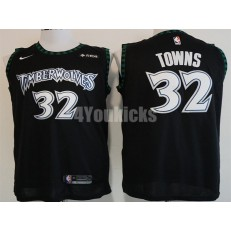 Minnesota Timberwolves #32 Karl-Anthony Towns Black Nike Hardwood Classics Swingman Men Jersey