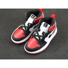 KID'S AIR JORDAN 1 MID ALT BLACK RED WHITE 555088-610