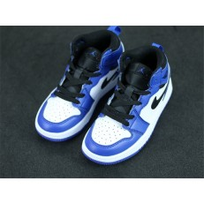 KID'S AIR JORDAN 1 MID ALT WHITE BLACK BLUE 555088-403