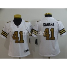 Women Nike New Orleans Saints #41 Alvin Kamara White Color Rush Limited Jersey