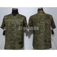 Women Nike Seattle Seahawks #3 Russell Wilson Camo Salute To Service Limited Jersey