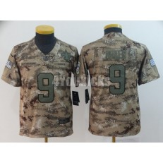 Youth Nike New Orleans Saints #9 Drew Brees Camo Salute To Service Limited Jersey