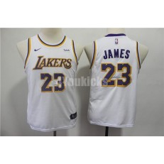 Los Angeles Lakers #23 Lebron James White Youth 2018-19 Nike Swingman Jersey