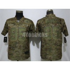 Women Nike Cleveland Browns #95 Myles Garrett Camo Salute To Service Limited Jersey