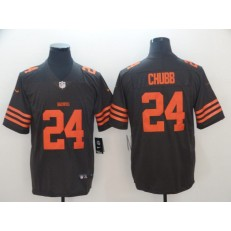 Cleveland Browns #24 Nick Chubb Brown Color Rush Limited Nike NFL Men Jersey