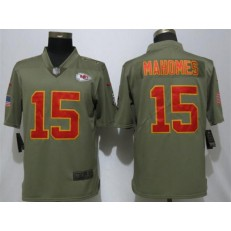 6d8409b7d5c Kansas City Chiefs #15 Patrick Mahomes Olive Salute To Service Limited Nike  NFL Men Jersey