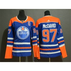 Edmonton Oilers #97 Connor McDavid Royal Women Adidas Jersey