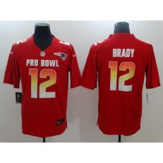 New England Patriots #12 Tom Brady Red Nike AFC 2019 Pro Bowl Game Jersey
