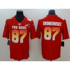 New England Patriots #87 Rob Gronkowski Red Nike AFC 2019 Pro Bowl Game Jersey