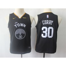 Golden State Warriors #30 Stephen Curry Black Youth Statement Edition Nike Swingman Jersey