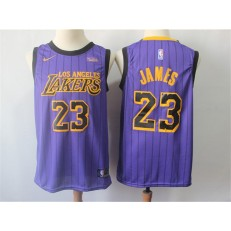 Los Angeles Lakers #23 Lebron James Purple Youth 2018-19 City Edition Nike Swingman Jersey