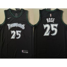Minnesota Timberwolves #25 Derrick Rose Black Throwback Nike Swingman Jersey