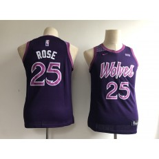 Minnesota Timberwolves #25 Derrick Rose Purple Youth 2018-19 City Edition Nike Swingman Jersey