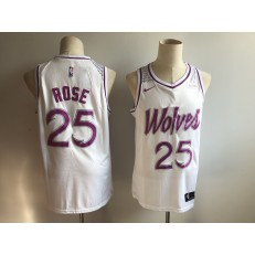 Minnesota Timberwolves #25 Derrick Rose White Youth 2018-19 Earned Edition Nike Swingman Jersey
