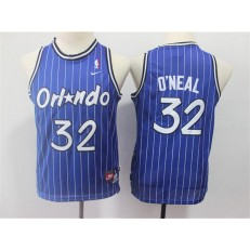 Orlando Magic #32 Shaquille O'neal Blue Youth Throwback Jersey
