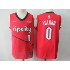 Portland Trail Blazers #0 Damian Lillard Red 2018-19 Earned Edition Nike Swingman Jersey