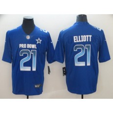 Dallas Cowboys #21 Ezekiel Elliott Royal Nike NFC 2019 Pro Bowl Limited Jersey