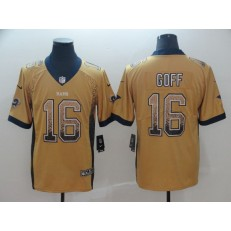 Los Angeles Rams #16 Jared Goff Gold Drift Fashion Limited Nike NFL Men Jersey