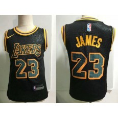 Los Angeles Lakers #23 LeBron James Black Nike Toddler Jersey