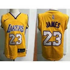 Los Angeles Lakers #23 LeBron James Yellow Nike Toddler Jersey
