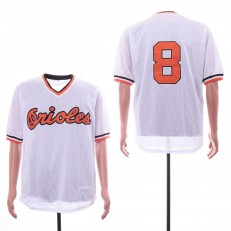 MLB Baltimore Orioles #8 Cal Ripken Jr. White Mesh Throwback Jersey