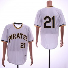 MLB Pittsburgh Pirates #21 Roberto Clemente White 1971 Throwback Jersey